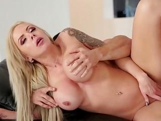 Sexy blonde milf got cum on her big tits