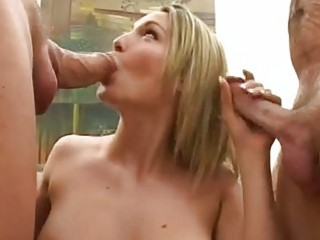 Raunchy whore Harmony Rose sucks on a hard dick whilst getting her pussy fucked