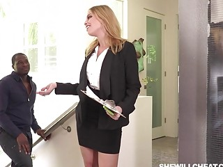 Blonde babe gets fucked hard by a huge black dude