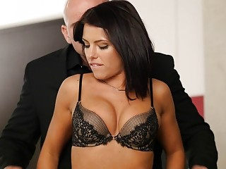 Ravishing girl in black lingerie sucks and fucks big cock