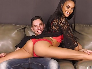 Ebony beauty gets pleased with a big cock inside her