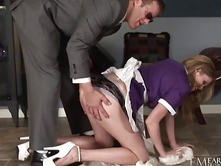 Blonde maid gives a sensual blowjob before pussylicking and fucking