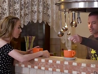DADDY4K. Skinny peach speaks Russian to BF's dad, then they fuck