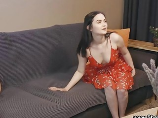 She Is Nerdy  Mileva  Gardener helps brunette cum